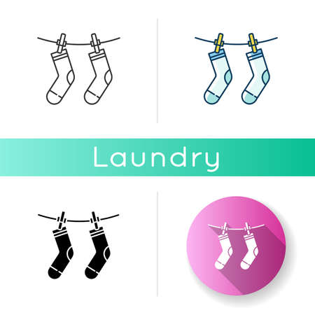 Outside drying icon. Laundry, clothesline, outdoors clothes drying. Socks hanging on clothesline, clean clothing, washed garment. Linear black and RGB color styles. Isolated vector illustrations
