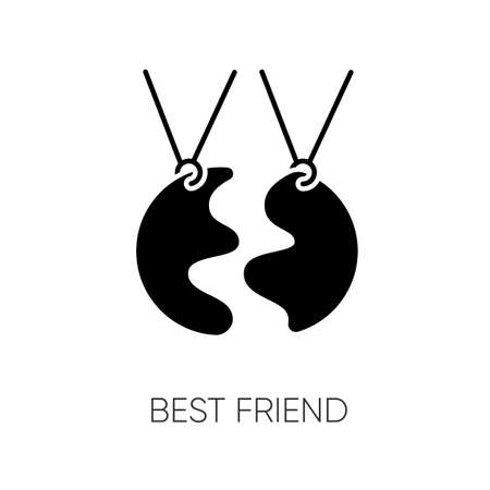 Best friend black glyph icon. Strong interpersonal bond, friendship silhouette symbol on white space. Friendly relationship accessory. BFF charm, necklace vector isolated illustration