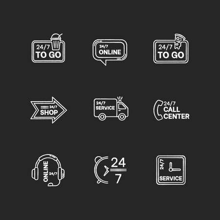 24 7 hour service chalk white icons set on black background. Online 24 hrs customer support. Everyday available delivery. Around the clock open pizzeria. Isolated vector chalkboard illustrations Illustration