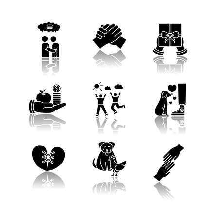 Friendship and support drop shadow black glyph icons set. Best friends connection. Interpersonal relationship, friendly interspecies bond symbols. Isolated vector illustrations on white space Ilustrace