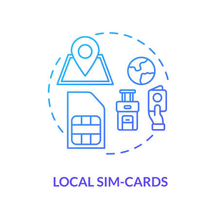 Local sim-card blue concept icon. Mobile operator. Internet tariff for phone. International connection. 4g microchip. Roaming idea thin line illustration. Vector isolated outline RGB color drawing