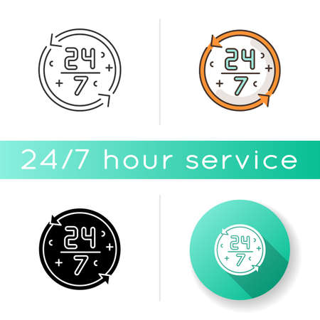 Nonstop service icon. 24 7 hours store. All week open shop. All day available ATM. Around the clock work. Watch dial. Linear black and RGB color styles. Isolated vector illustrations