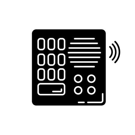 Intercom black glyph icon. Talkback. Door phone. Voice communication device. Safety system. Security equipment. Entrance protection. Silhouette symbol on white space. Vector isolated illustration