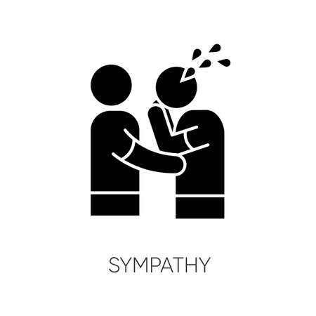 Sympathy black glyph icon. Friendly consolation and support, emotional care, friendship silhouette symbol on white space. Comforting, cheering sad friend. Vector isolated illustration