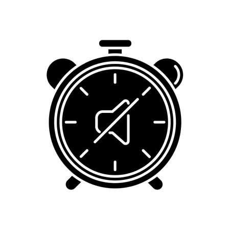 Quiet hours black glyph icon. Dormitory rules. Noise limit. Silence time. Residential life. Respectful attitude. Peaceful environment. Silhouette symbol on white space. Vector isolated illustration