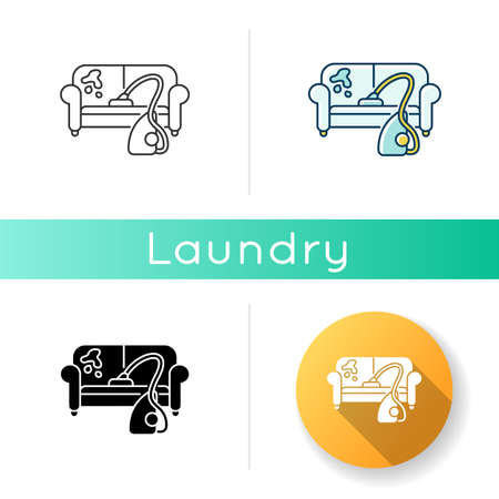 Furniture dry cleaning icon. Sofa professional washing, laundry service. Home furnishing delicate cleaning, stain removing equipment. Linear black and RGB color styles. Isolated vector illustrations