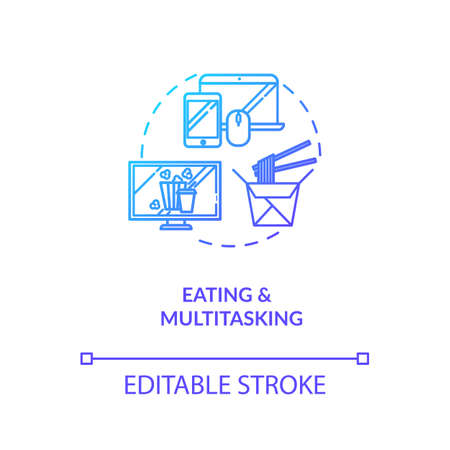 Eating and multitasking concept icon. Conscious nutrition, binge eating idea thin line illustration. Mindless food consumption. Vector isolated outline RGB color drawing