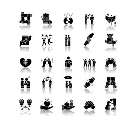 Friendly relationship drop shadow black glyph icons set. Friendship, interpersonal communication, emotional bond symbols. Best friends, buddies isolated vector illustrations on white space