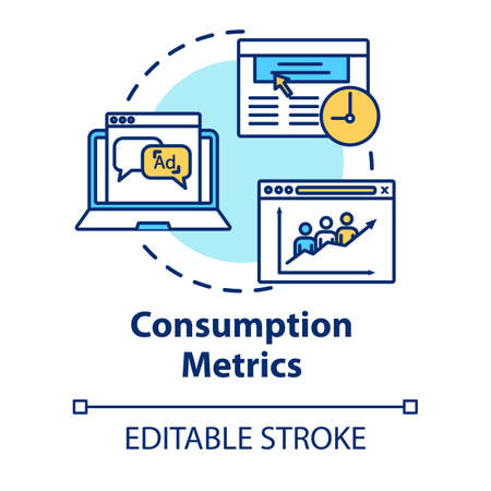 Consumption metrics concept icon. Marketing statistics analysis. Online traffic, customer satisfaction rates idea thin line illustration. Vector isolated outline RGB color drawing. Editable stroke
