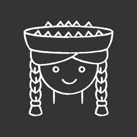 Peruvian girl chalk white icon on black background. Cute smiling woman head with pigtails in traditional hat. Latin american national headdress. Local Peru child. Isolated vector illustration