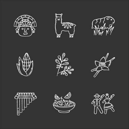 Peru chalk white icons set on black background. Hispanic history, traditions, culture. Incas, alpaca, guinea pig, corn, vanilla, ceviche, marinera. Isolated vector chalkboard illustrations