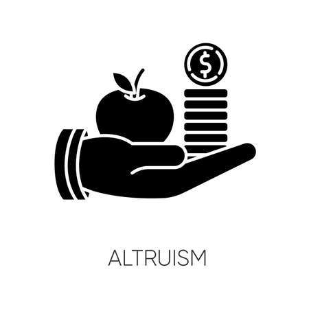 Altruism black glyph icon. Selfless giving and sharing, moral virtue. Financial support, friendly aid silhouette symbol on white space. Lending money, credit loan. Vector isolated illustration Illustration