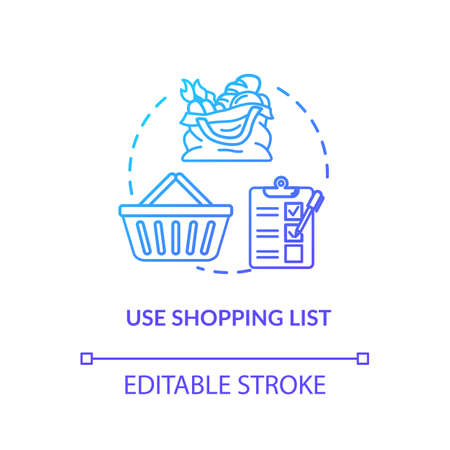 Use shopping list concept icon. Mindful eating, consumerism idea thin line illustration. Avoiding impulse buying, planning purchases. Vector isolated outline RGB color drawing