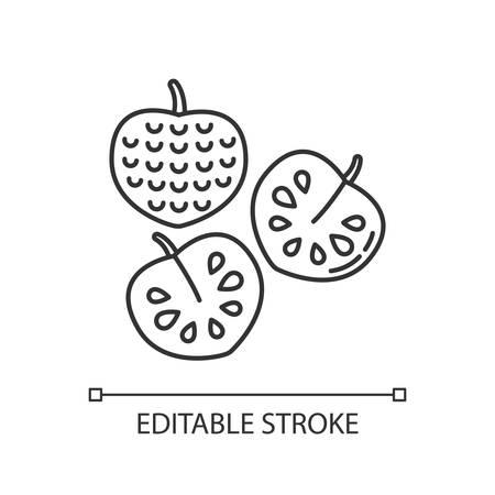 Cherimoya pixel perfect linear icon. Delicious custard apple. Annona cherimola. Thin line customizable illustration. Contour symbol. Vector isolated outline drawing. Editable stroke