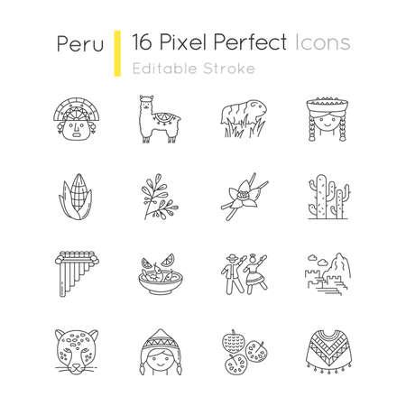 Peru pixel perfect linear icons set. Peruvian sights, culture, nature, cuisine. Siku, poncho, jaguar. Customizable thin line contour symbols. Isolated vector outline illustrations. Editable stroke
