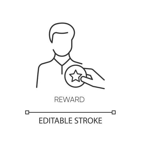 Reward pixel perfect linear icon. Thin line customizable illustration. Workers motivation, business promotion contour symbol. Best employee award vector isolated outline drawing. Editable stroke Illustration