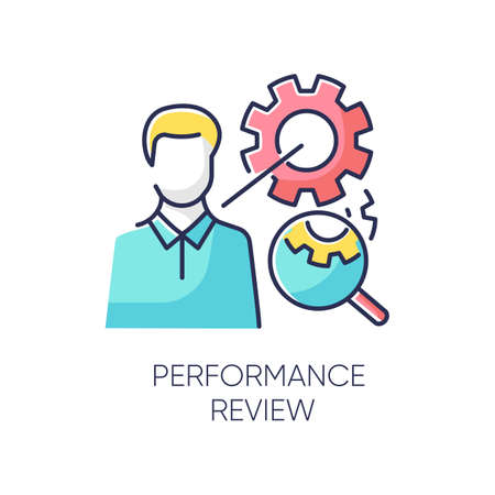 Performance review RGB color icon. Job efficiency assessment, employee effectiveness evaluation. Workflow productivity optimization, professional time management. Isolated vector illustration Illustration