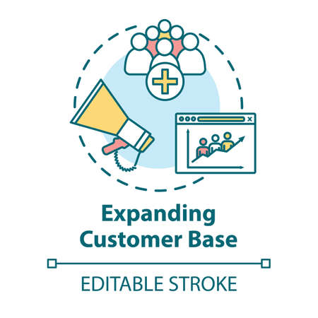 Expanding customer base concept icon. Audience attraction campaign. Client network development, branding idea thin line illustration. Vector isolated outline RGB color drawing. Editable stroke