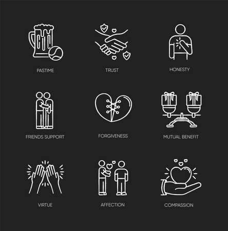 Friends relationship chalk white icons set on black background. Social connection, strong interpersonal bond. Friendly communication, fellowship. Isolated vector chalkboard illustrations