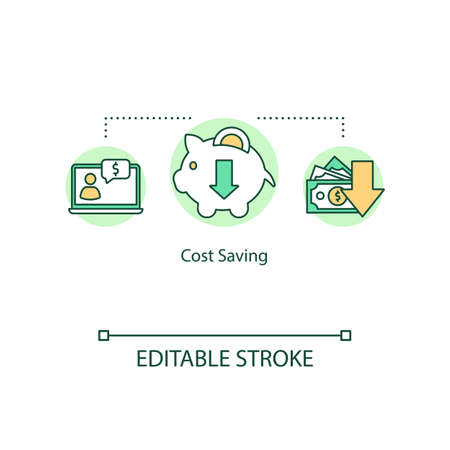 Cost saving concept icon. Reducing expenses and limiting expenditure idea thin line illustration. Profitable deal and good bargain. Vector isolated outline RGB color drawing. Editable stroke