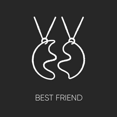 Best friend chalk white icon on black background. Strong interpersonal bond, friendship. Friendly relationship accessory. BFF charm, necklace isolated vector chalkboard illustration Çizim