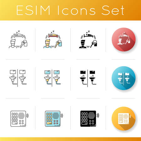 Hostel icons set. Communal bathroom. Living accommodations. Renting service. Shared space. Intercom. Voice communication device. Linear, black and RGB color styles. Isolated vector illustrations