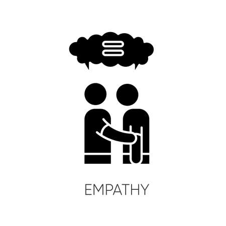 Empathy black glyph icon. Strong emotional bond, interpersonal understanding, friendship silhouette symbol on white space. Mutual support and solidarity. Vector isolated illustration