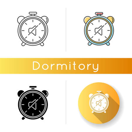Quiet hours icon. Dormitory rules. Noise limit. Silence time. Residential life. Respectful attitude. Linear black and RGB color style. Linear, black and RGB color styles. Isolated vector illustrations