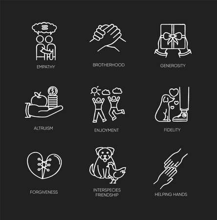 Friendship and support chalk white icons set on black background. Best friends connection. Interpersonal relationship, friendly interspecies bond. Isolated vector chalkboard illustrations Ilustrace
