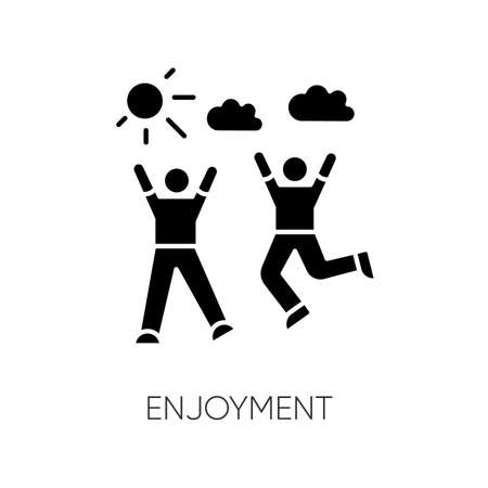 Enjoyment black glyph icon. Friendship, togetherness, happiness silhouette symbol on white space. Active pastime, outdoor recreation. Friends bonding activities. vector isolated illustration