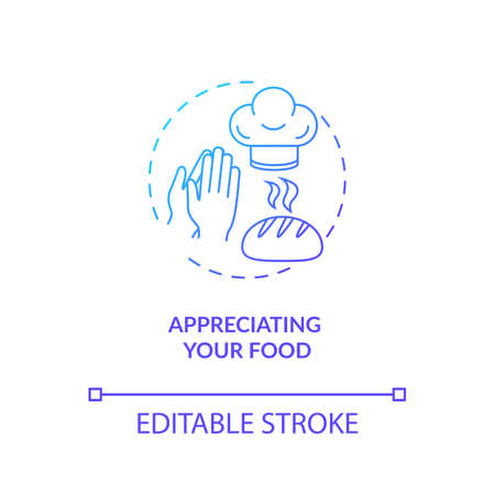Appreciating your food concept icon. Conscious nutrition, mindful eating idea thin line illustration. Expressing gratitude for meal. Vector isolated outline RGB color drawing Banque d'images - 142186184