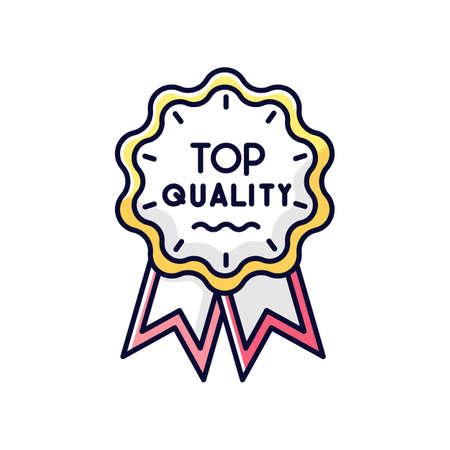 Top quality RGB color icon. Brand equity, consumerism. Premium goods and service warranty. Luxury mark, prestigious status badge isolated vector illustration
