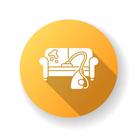 Furniture dry cleaning yellow flat design long shadow glyph icon. Sofa professional washing, laundry service. Furnishing delicate cleaning, stain removing equipment. Silhouette RGB color illustration Ilustracje wektorowe