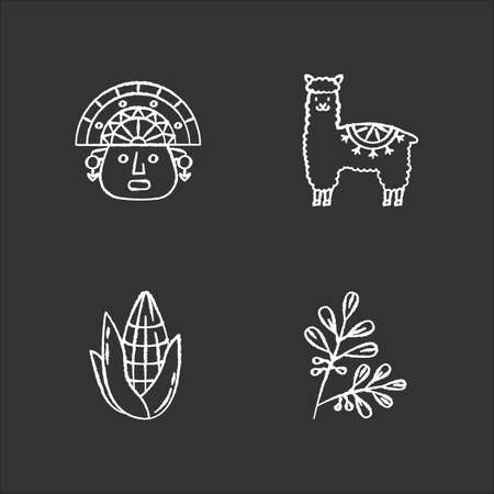 Peru chalk white icons set on black background. Andean country features. Alpaca, incas, corn. Incas history, and traditions. Traveling in South America. Isolated vector chalkboard illustrations