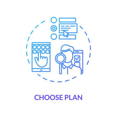 Wählen Sie das Symbol für das blaue Konzept des Plans. Versicherungsoption wählen. Wählen Sie die Abonnementoption. Entscheiden Sie sich für einen Internettarif. Roaming-Idee dünne Linie Abbildung. Vektor isolierte Umriss RGB-Farbzeichnung Vektorgrafik