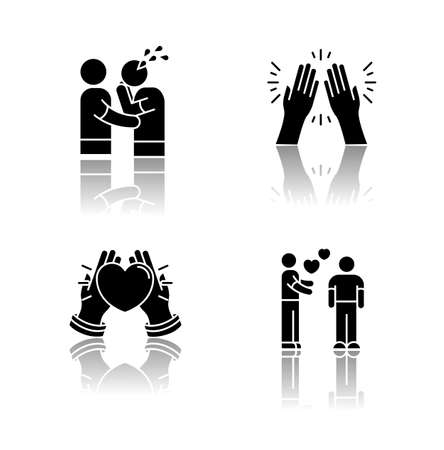 Social connection drop shadow black glyph icons set. Interpersonal relationship, friendship symbols. Sympathy, virtue, kindness and affection. Isolated vector illustrations on white space