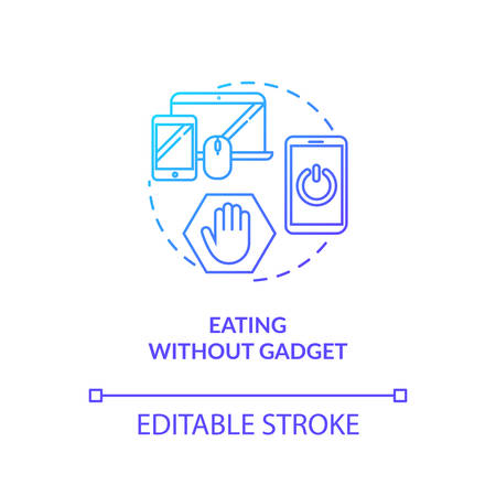 Eating without gadget concept icon. Conscious nutrition idea thin line illustration. Attentive food consumption. Meal without distractions. Vector isolated outline RGB color drawing
