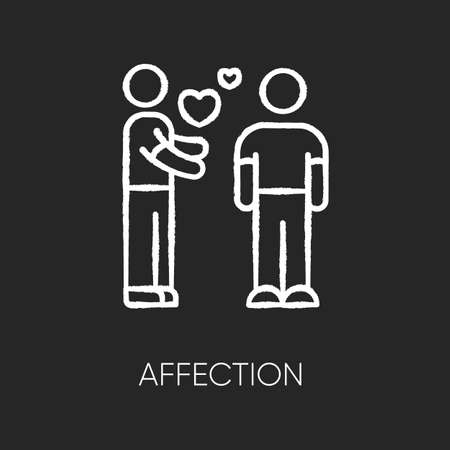 Affection chalk white icon on black background. Romantic feelings, love, amorous relationship. Valentine day. Emotional attachment, passionate romance. Isolated vector chalkboard illustration