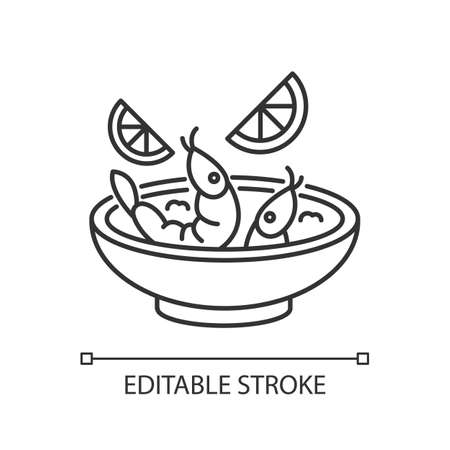 Ceviche pixel perfect linear icon. Peruvian national dish. Latin american cuisine main course. Thin line customizable illustration. Contour symbol. Vector isolated outline drawing. Editable stroke