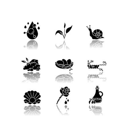 Cosmetic ingredient drop shadow black glyph icons set. Chemical formula for cosmetology. Dermatology treatment. Natural skincare. Organic components. Isolated vector illustrations on white space
