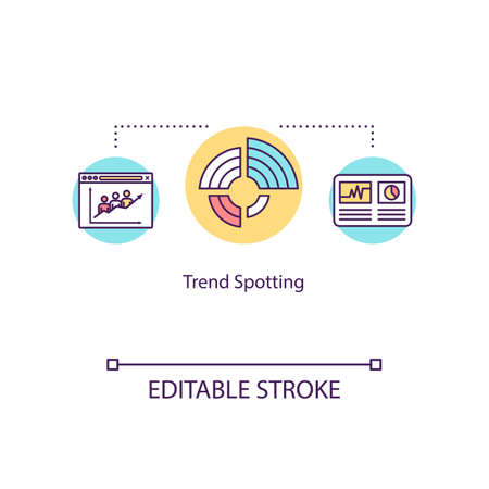 Trend spotting concept icon. Market tendencies analysis, economic research idea thin line illustration. Business development strategy. Vector isolated outline RGB color drawing. Editable stroke Illustration