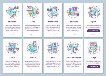 Content marketing campaign onboarding mobile app page screen with concepts set. SMM and CRM models efficiency walkthrough 5 steps graphic instructions. UI vector template with RGB color illustrations