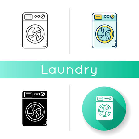 Laundry, washing machine icon. Washer, household appliance, electrical device. Domestic equipment, launderette, electronic apparatus. Linear black and RGB color styles. Isolated vector illustrations Illustration