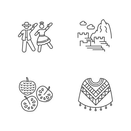 Peru pixel perfect linear icons set. Andean attractions. Marinera, Machu Picchu, cherimoya, poncho. Customizable thin line contour symbols. Isolated vector outline illustrations. Editable stroke Иллюстрация