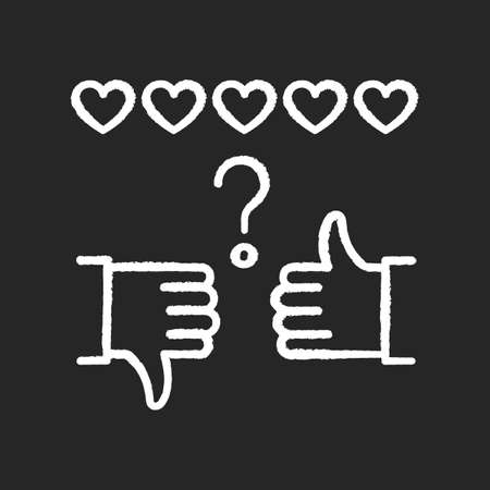 Review rate chalk white icon on black background. Thumbs up and down. Hand sign of like and dislike. Satisfaction level. Feedback for social media stories. Isolated vector chalkboard illustration