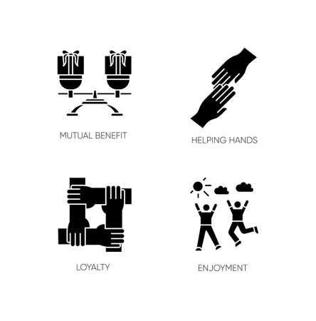 Friends togetherness black glyph icons set on white space. Friendship, unity and communication silhouette symbols. Mutual benefit, helping hands, loyalty and enjoyment. Vector isolated illustration
