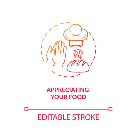 Appreciating your food concept icon. Conscious nutrition, mindful eating idea thin line illustration. Expressing gratitude for meal. Vector isolated outline RGB color drawing Banque d'images - 142188589