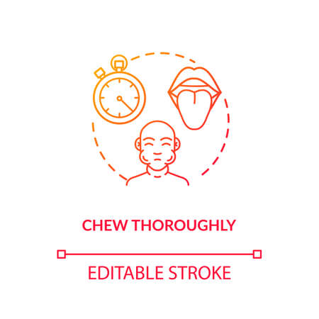 Chew thoroughly concept icon. Conscious nutrition, mindful eating idea thin line illustration. Tasting food essence, enjoying meal. Vector isolated outline RGB color drawing Çizim