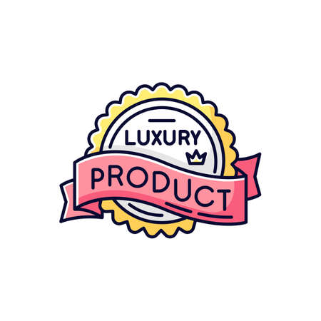 Luxury product RGB color icon. Brand equity, superior status. Expensive premium quality goods badge with crown and banner ribbon isolated vector illustration