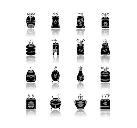 Air purifiers, humidifiers, ionizers drop shadow black glyph icons set. Climate control devices, household appliances, indoor humidity regulators. Isolated vector illustrations on white space